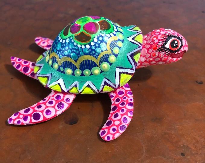 Alebrije Turtle Wood Carving by Roberto and Esperanza Martinez from Oaxaca, Mexico.