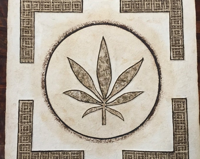 "Amate Bark Paper Wall Art with Pot Leaf Design (24"" x 24"")"