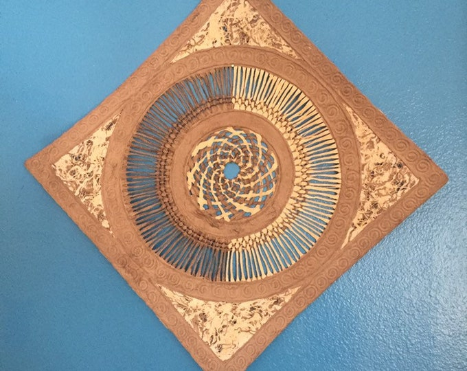 """Amate Bark Paper Wall Art with woven lace and swirl design (15 1/2"""" x 15 1/2"""")"""