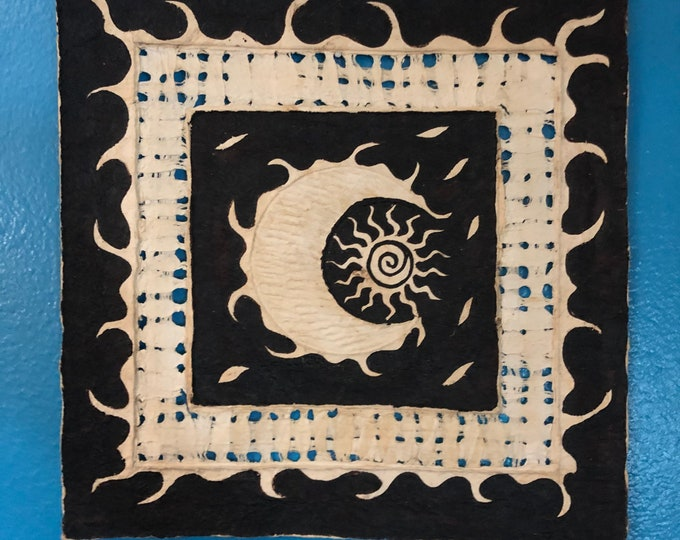 Handmade Amate Paper Wall Art with Sun and Moon from Mexico