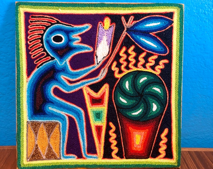"Huichol Yarn Art 8"" x 8"" - Shaman's Offerings from Nayarit, Mexico"