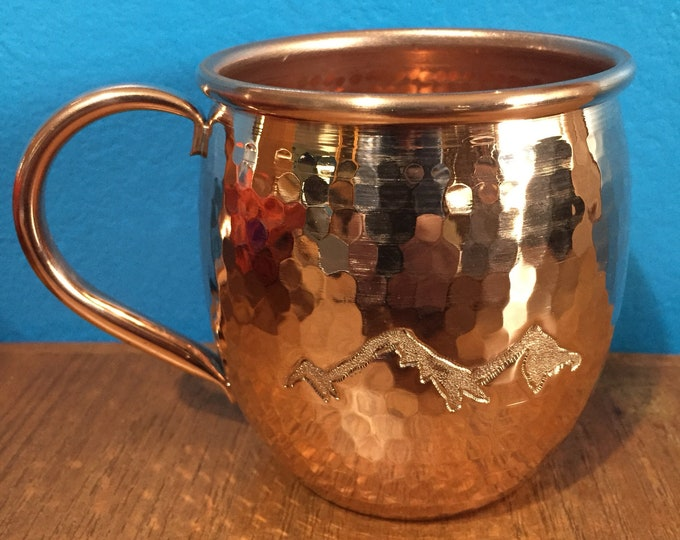 16oz Moscow Mule Hammered Copper Barrel Mug with mountains engraving