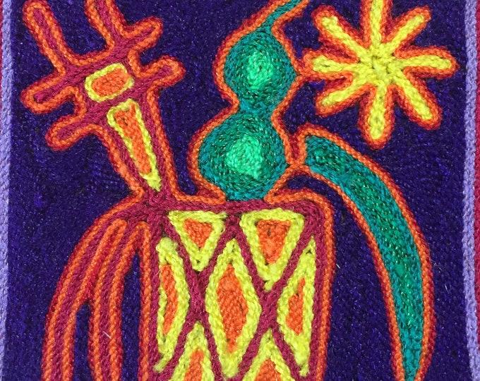 """Huichol Yarn Art 4""""x4"""" - Sacred Symbols"""