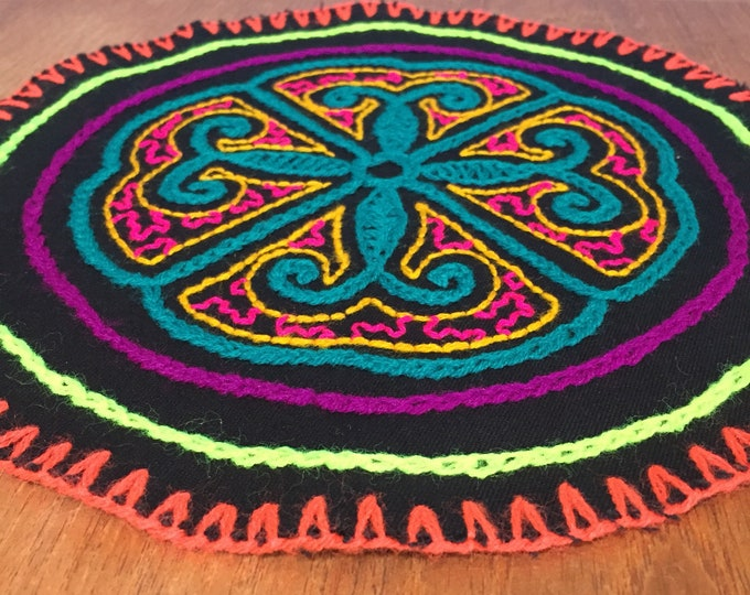 "Peruvian hand embroidered round table coaster (9"" diameter)"