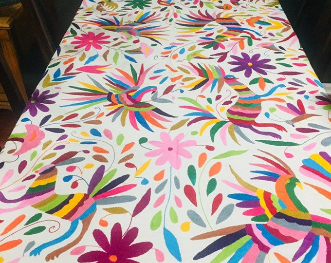 Large Otomí hand embroidered tablecloth / bed spread / frame-able art (approx. 6' x 6') - Multi-color