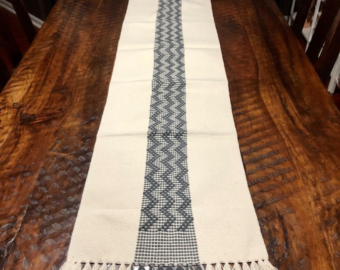 """Handwoven Zapotec cotton table runner / bed runner - approx. 72"""" x 14"""" (l x w)"""