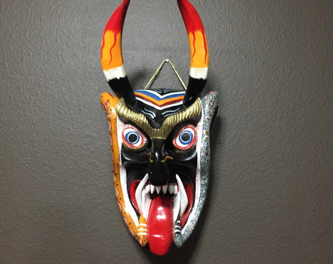 Medium Size Mexican Decorative Indigenous Diablo Devil Hand Carved Wood Wall Mask