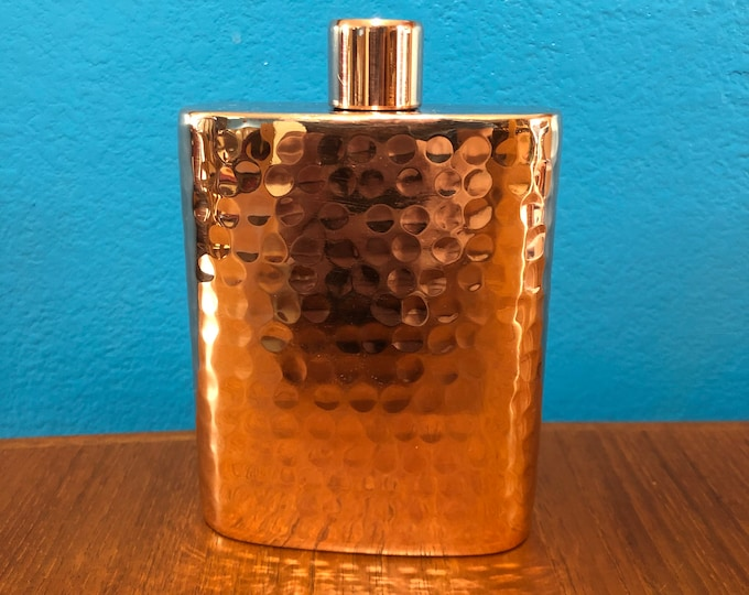 Handcrafted hammered copper 8oz flask