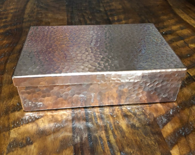 "Hammered copper valet box jewelry storage - 5"" x 7.5"" x 2"""