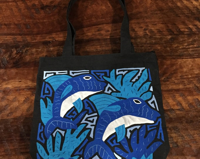 Kuna Mola Dolphin Design Shoulder Bag Beach Bag Handcrafted in Colombia