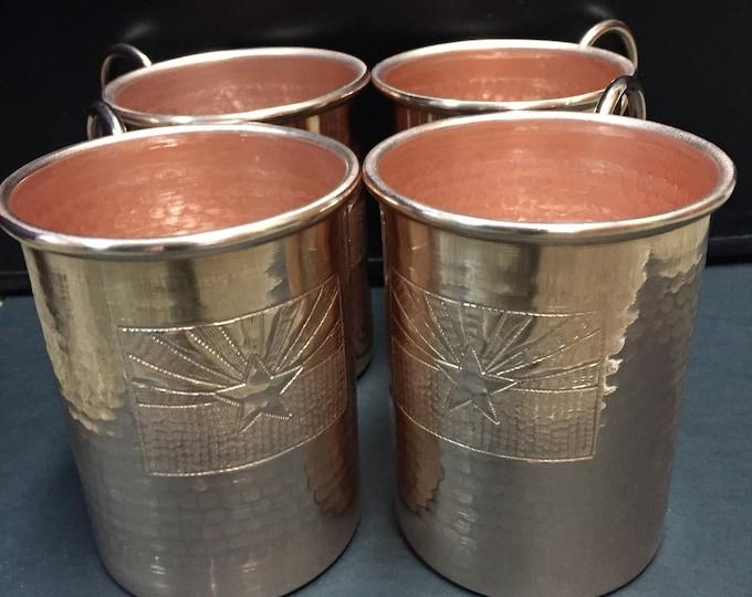 4-pack of 16oz Moscow Mule Copper Mugs, hammered w/ Arizona Flag logo