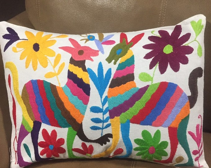 """Otomi hand embroidered approx.16"""" x 11"""" pillow case with spirit animals and flowers."""