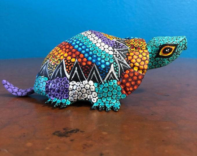 Alebrije Turtle Wood Carving by Esperanza Martinez from Oaxaca, Mexico.