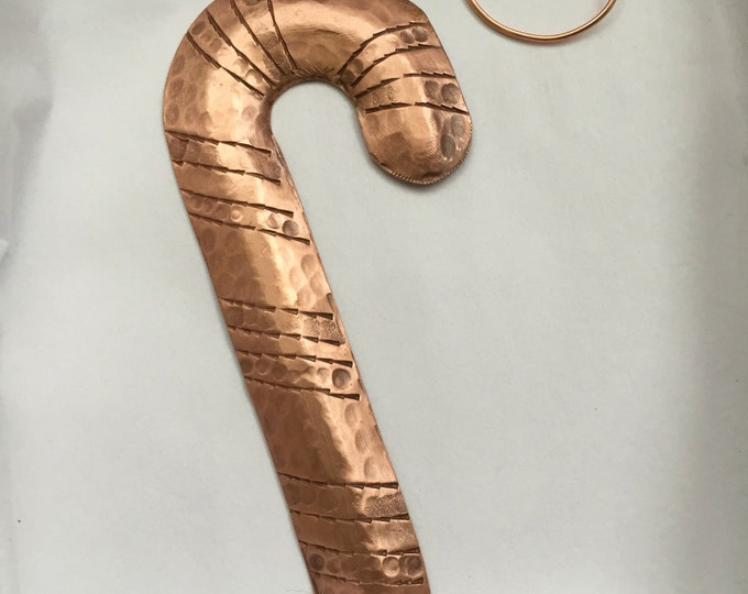Handcrafted Pure Hammered Copper Candy Cane Christmas Tree Ornament
