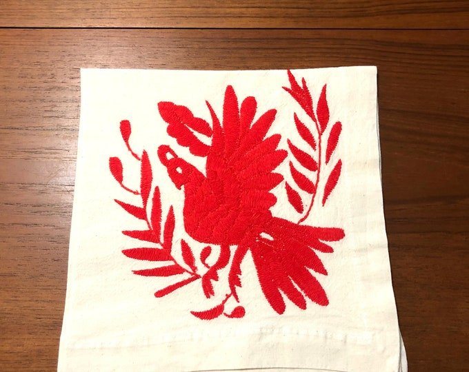 "Otomi hand embroidered 19"" x 19"" muslin napkin with rose red bird."