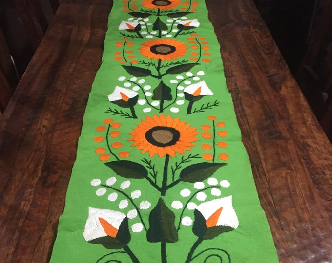 Hand Embroidered Green Mexican Table Runner with Sunflowers