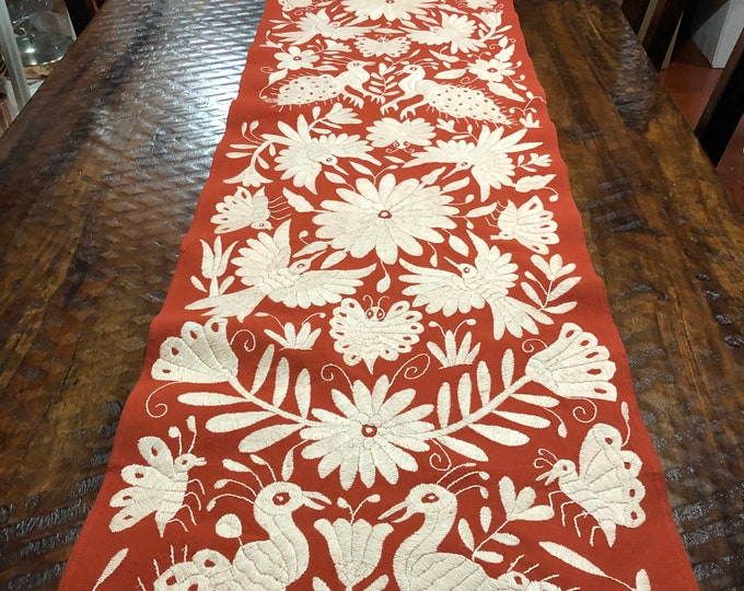 "Mexican Otomi hand embroidered bed scarf / partial coverlet / table runner / frame able art (77"" x 17"") - White with Burnt Orange Fabric"