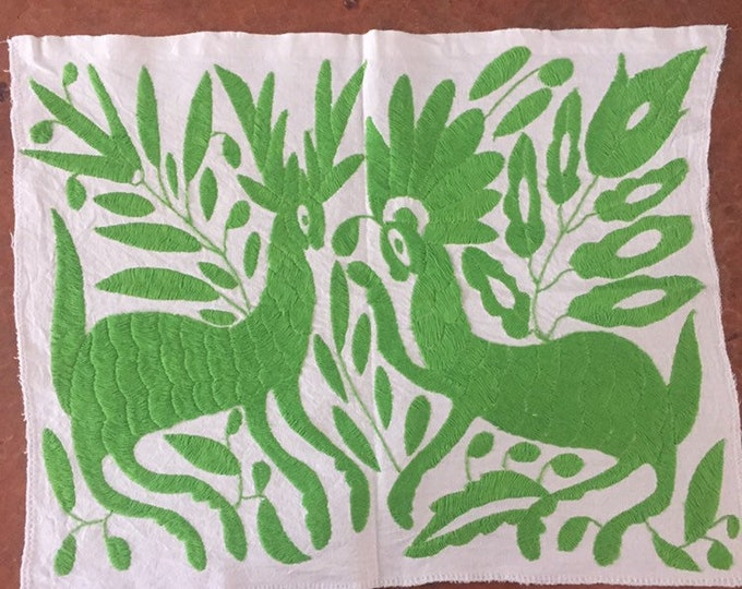 """Hand embroidered Otomí placemat /frame-able art (approx.17"""" x 13"""") - lime green"""