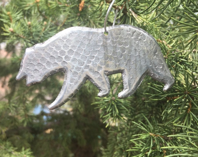 Handcrafted Pure Hammered Aluminum Bear Christmas Tree Ornament