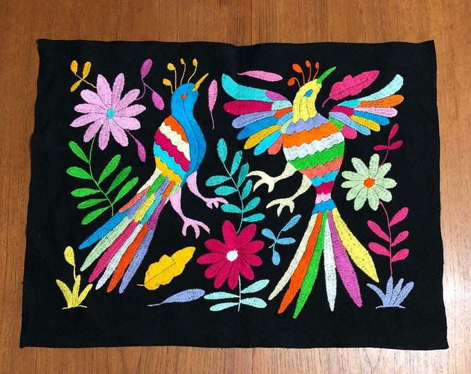 """Hand embroidered Otomí placemat (approx. 17"""" x 13"""") - multi-color on black cotton"""