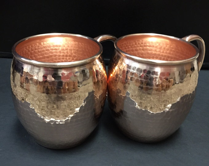 2-pack of 16oz Moscow Mule Hammered Copper Barrel Mugs
