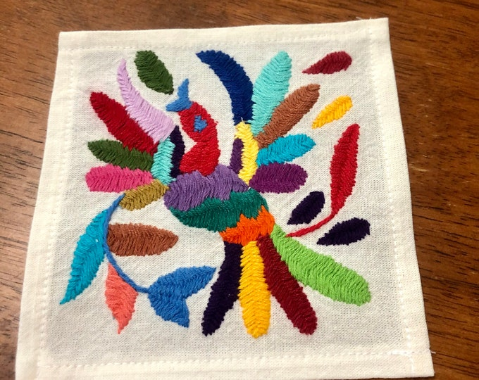 "Otomi hand embroidered muslin coaster/cocktail napkin/frame-able art - with bird- approx. 6"" x 6"""