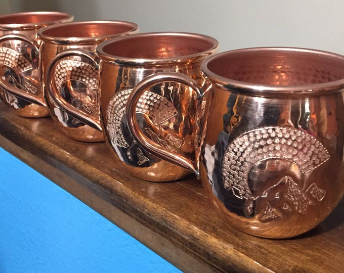 4-pack of 16oz Moscow Mule Hammered Copper Barrel Mug with Colorado C and Mountains logo