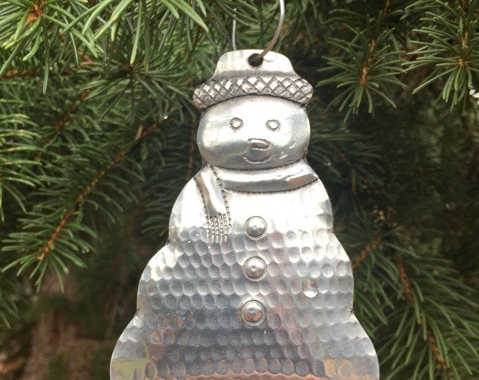 Handcrafted Aluminum Snowman Christmas Tree Ornament