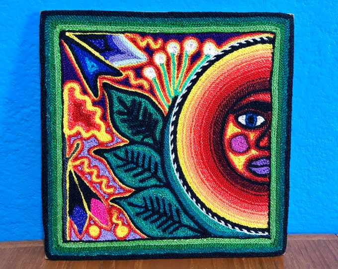 "Huichol Yarn Art 6"" x 6"" - Sacred Sun with Prayer Arrow from Nayarit, Mexico"