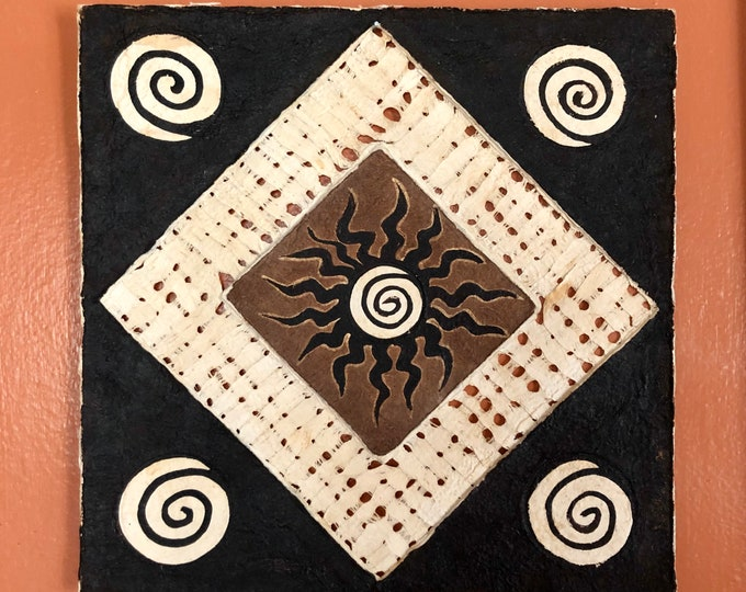Handmade Amate Paper Wall Art with Sun and Spirals from Mexico