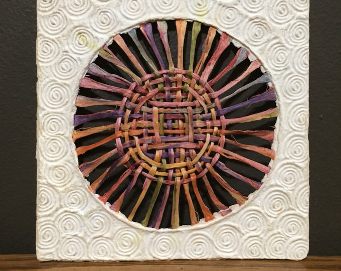 Handmade Amate Paper Wall Art with multicolor woven circle