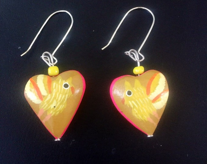 "Alebrije Heart Shaped Earrings - approx. 1"" diameter x 1/4""deep. By Zeny and Reyna Fuentes."