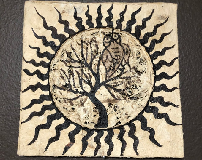"""Handmade Amate Paper Wall Art  8"""" x 8"""" with Sun, Tree, and Owl"""