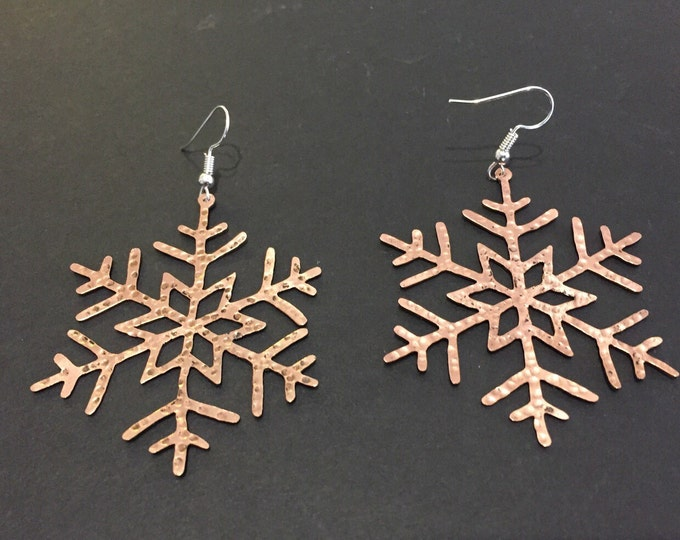 Copper Snowflake Earrings 2""