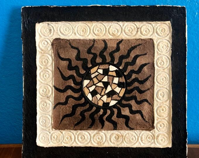"Handmade Amate Paper Wall Art  8"" x 8"" with Sun"