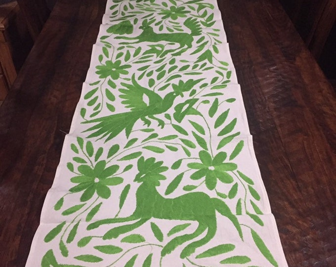 Otomi Hand Embroidered Table Runner / Bed Scarf / Frame-able Art - Lime Green