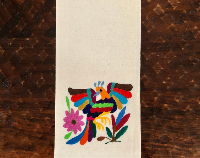 """Otomi hand embroidered muslin napkin with multicolor bird 24"""" x 16"""""""