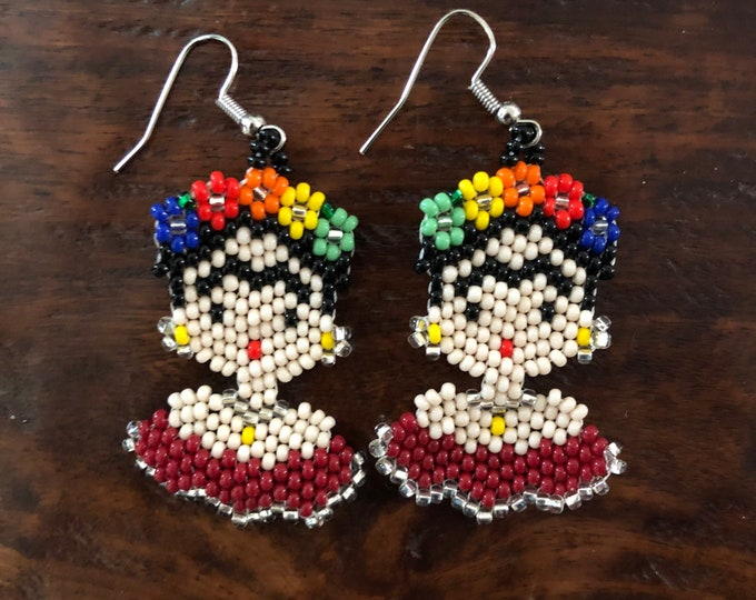 Colorful Chaquira Beaded Frida Drop Earrings