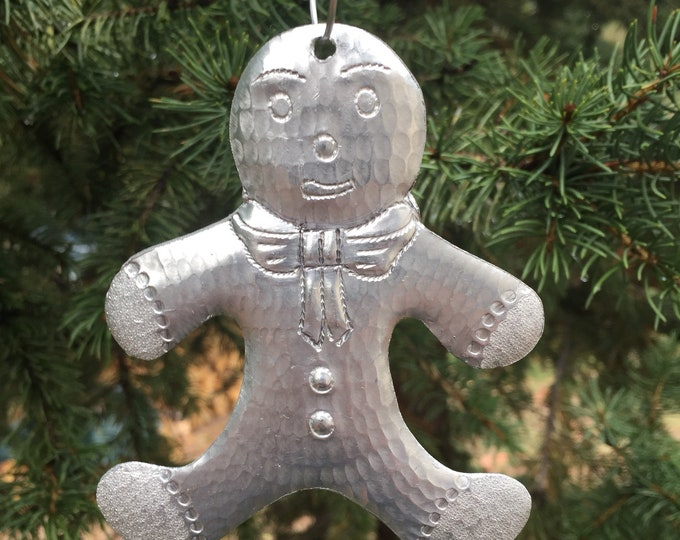 Handcrafted Hammered Aluminum Gingerbread Man Christmas Tree Ornament