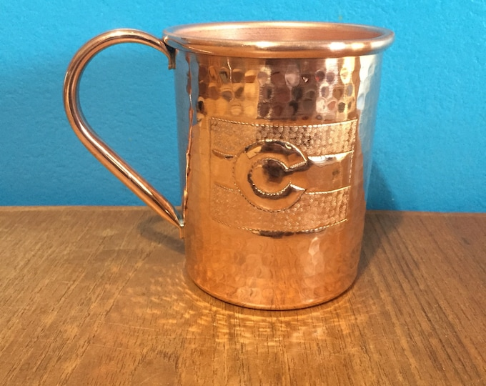 16oz Moscow Mule Hammered Copper Mug w/ Colorado Flag logo
