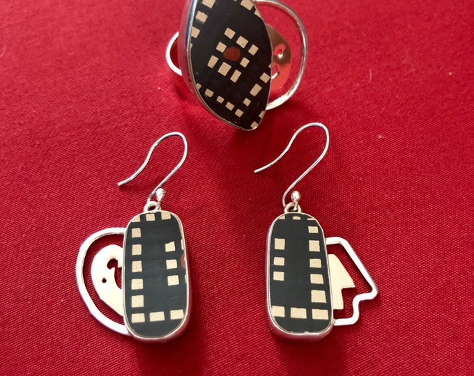 One of a Kind Mata Ortiz Jewelry Set - Ring and Earrings -Silver and Copper