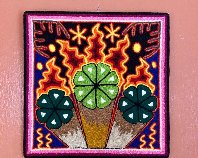 "Huichol Yarn Art 8"" x 8"" - Sacred Peyote from Nayarit, Mexico"