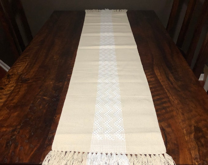 """Handwoven Zapotec cotton table runner / bed runner approx. 70"""" x 14"""" (l x w)"""