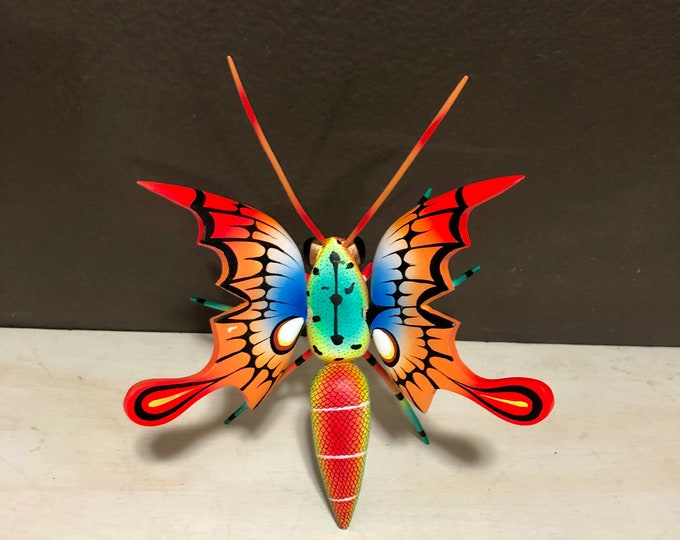 Alebrije Monarch Butterfly Handcrafted Wood Carving by Zeny Fuentes & Reyna Piña from Oaxaca, Mexico.