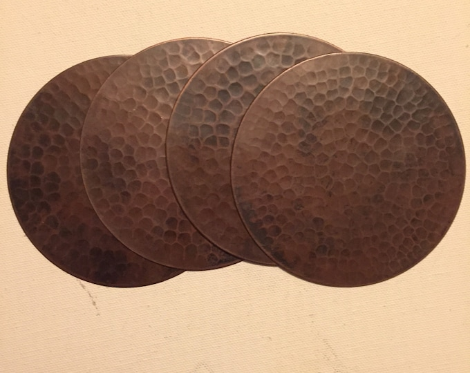 Set of 4 Hammered Copper Coasters with brown patina and cork backing