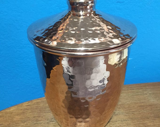 """Hammered Copper Canister with Lid (4""""x6"""")"""