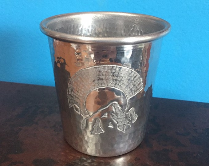 15oz Hammered Aluminum Tumbler with Colorado C & Mountain engraving - tapered