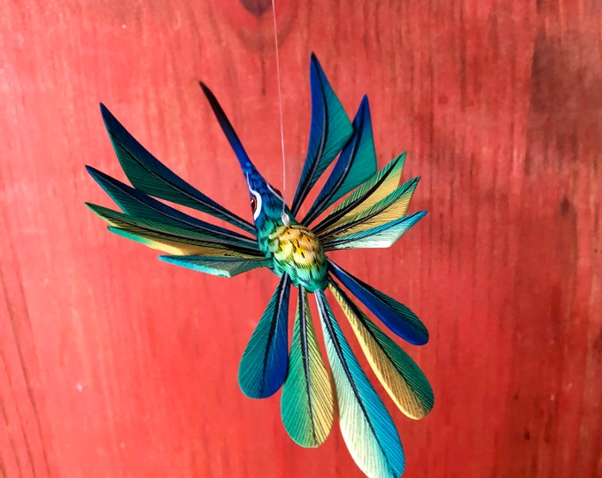Alebrije Hummingbird Handcrafted Wood Carving by Zeny Fuentes & Reyna Piña from Oaxaca, Mexico.