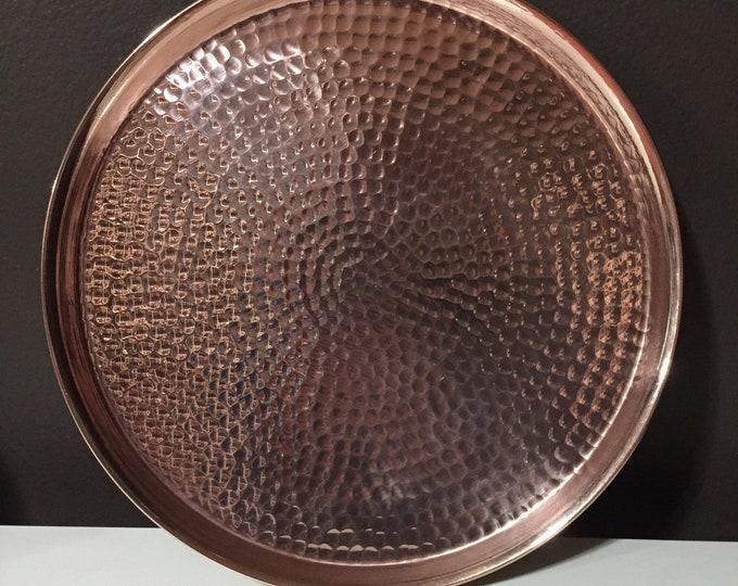"Pure Hammered Copper Raised Edge Serving Plate - 11 1/2"" diameter"