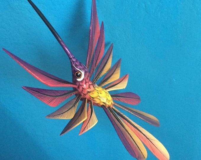 Alebrije Purple and Pink Hummingbird by Roberto and Esperanza Martinez